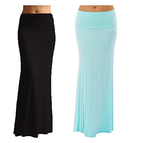 2 Pack Women's Rayon Spandex Maxi Skirt Black Sky Blue S