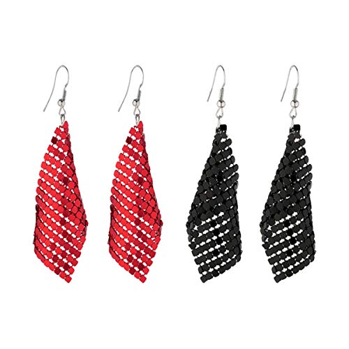 Eigso 2 Pairs Dangle Drop Sequin Earrings Set for Women Girls Metal Classic Elegant Stylish Colorful