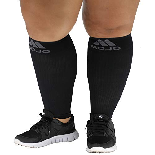 5XL Mojo Compression Extra Wide Plus Size Calf Sleeves for Women and Men - Footless, Bariatric Sized XXXXX-L, Black - 20-30mHg)
