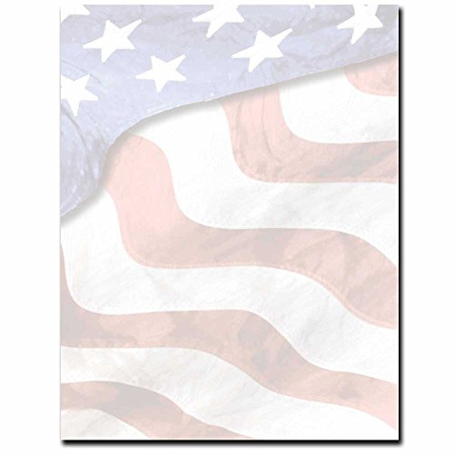 Grand Old Flag Letterhead Laser & Inkjet Printer Paper, 100 pack Border Letterhead 100 Sheets