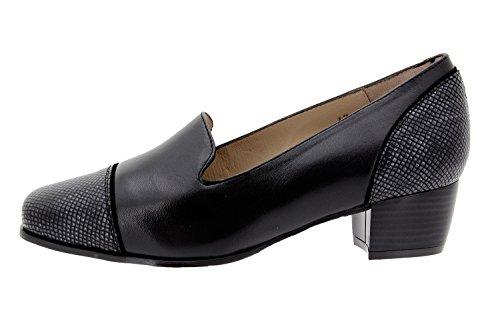 Negro Donna Speciale Larghezza Scarpe Moccasin Comfort PieSanto Comfort 9108 Pelle x6agCwvvzq