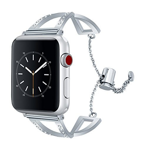 TOROTOP Compatible Apple Watch Band 38mm/40mm, Classy Stainless Steel Cuff Bracelet Replacement Bands Strap Wristbands for iWatch 38mm /40mm Series 4 3,2,1,Sport,Hermes in Silver (Silver, 38mm) Drive Womens Bangle Style Watch