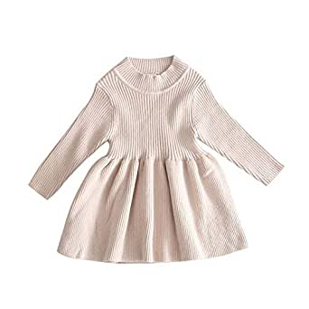 mlpeerw Toddler Baby Girl Knitted Dresses Kids Solid Ruffle Long Sleeve One Piece Dress Fall Winter Warm Sweater Outfits (Ribbed Beige, 3-6 Months)