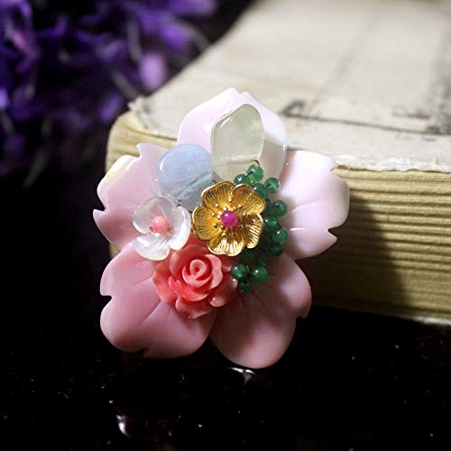 THTHT Brooch Pendant Dual-Use Shell Flower Women's Accessories Pink Gilded Jade Flower Handmade Corsage Vintage Exquisite High-End Jewelry Luxury