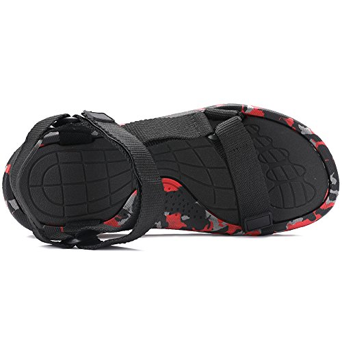 VILOCY Men's Backpack Sandals Camo Lightweight Adjustable Strap Open Toe Walking Shoes Camo Red GTBSM5i
