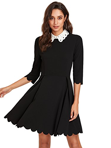 (Floerns Women's Casual Contrast Eyelet Embroidered Collar Scalloped Dress Black S )