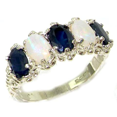 925 Sterling Silver Natural Sapphire and Opal Womens Eternity Ring - Sizes 4 to 12 Available - Blue Sapphire Eternity Ring