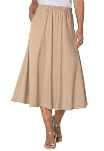 Women's Plus Size 7-Day Knit A-Line Skirt New (Khaki A-line Skirt)