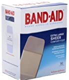 "Band-Aid Adhesive Bandages, Sheer Extra Large, 1 3/4"" X 4"", 50 Count (Pack of 2)"