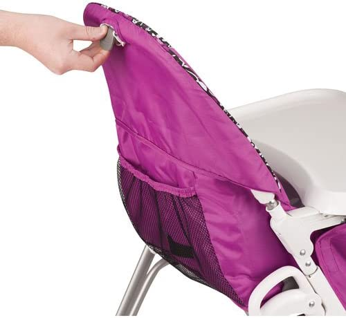 Evenflo Symmetry Flat Fold High Chair with Tray Pink//Black//White,Daphne