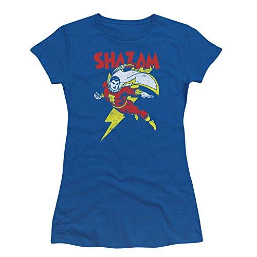 Captain Marvel Shazam DC Comics Superhero Let's Fly Juniors Sheer T-Shirt Tee