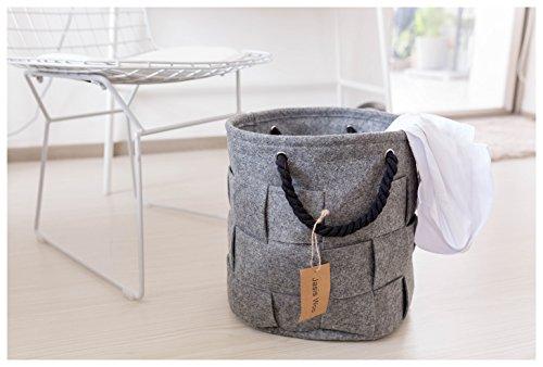 Storage Basket Orgagnizer Bin Large Woven Felt Round with Handle Collapsible (12.6 x 13.4inch) Jasis (Felt Basket)