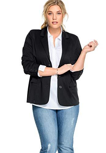 Ellos Women's Plus Size Ponte Knit Button-Front Blazer - Black, 18