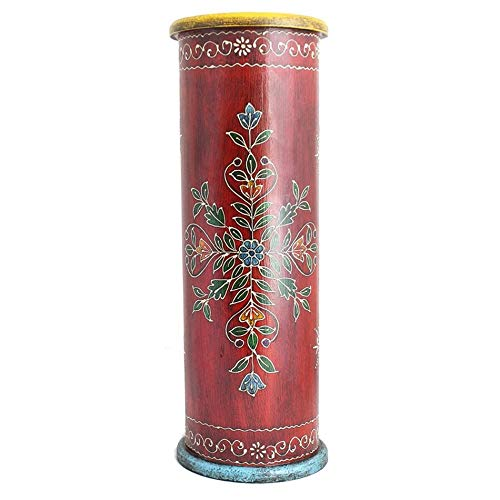 PH 22 Inch Red Handcrafted Patio Umbrella Base (India), Light Red Hand Painting Detailing Umbrella Stand Holder Indoor Umbrella Support Wonderful Addition Rustic Wooden Hand-Painted, Wood ()