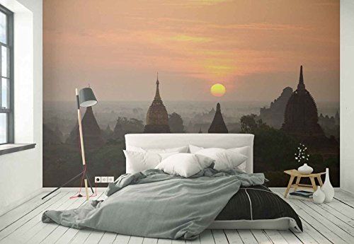 Photo wallpaper wall mural - Temples Cupolas Sunset Sun - Theme Travel & Maps - L - 8ft 4in x 6ft (WxH) - 2 Pieces - Printed on 130gsm Non-Woven Paper - 1X-38148V4 by Fotowalls Photo Wallpaper Murals