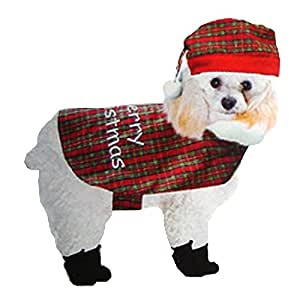 Plaid Christmas Dog Cat or Other Pet Pajama Costume Size M 30-40 lb #C3437 MD
