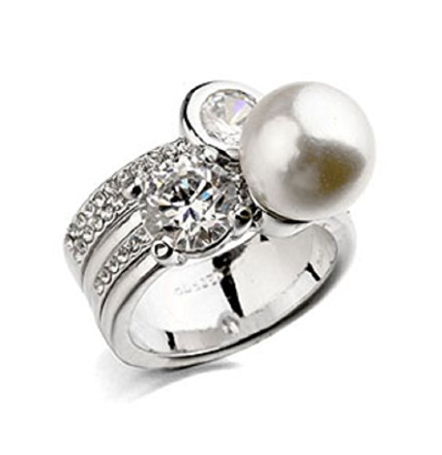 JNA Collection 2018 Mothers Day 18K White Gold Plated White Simulated Pearl CZ Cubic Zirconia Durable Eco-Friendly Engagement Wedding Fashion Ring for Women Ladies Girls Gift (Silver Color) (6)