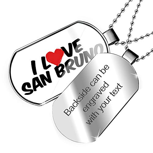 NEONBLOND Personalized Name Engraved I Love San Bruno Dogtag ()