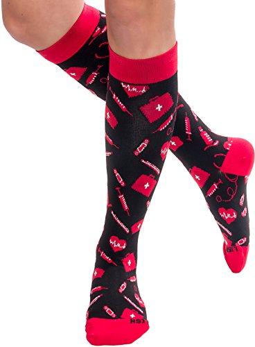 Nurse Compression Socks - Graduated 15-25mmHG Knee Highs ...