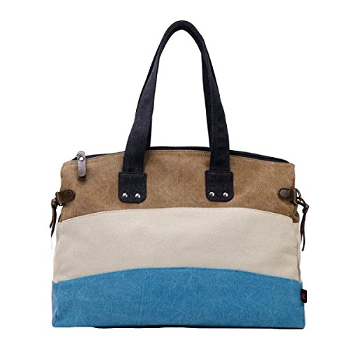 Retro Lona Costura Bolsos De Hombro Bolsa De Gran Capacidad De Hit Messenger Color Brown