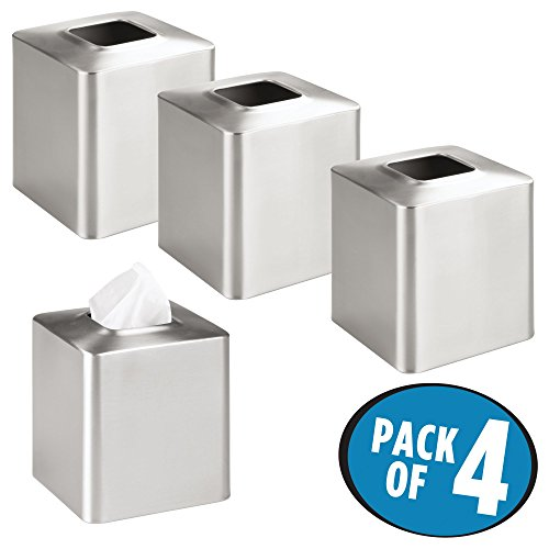 mDesign Square Paper Facial Tissue Box Cover Holder for Bathroom Vanity Countertops, Bedroom Dressers, Night Stands, Desks and Tables - Pack of 4, Stainless Steel with Brushed Finish