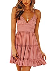 ECOWISH Womens V-Neck Spaghetti Strap Bowknot Backless Sleeveless Lace Mini Swing Skater Dress White 2 Small