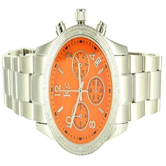 Mens Unique Kc Techno Com Vivid Orange Face White Finish Diamond 316 Steel watch