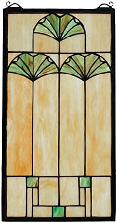 Meyda Tiffany 67787 Ginkgo Stained Glass Window, 11 W x 20 H