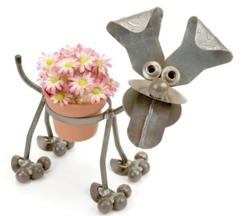 Yardbirds Junkyard Metal Animal Happy Puppy Pot Holder - (Happy Junkyard Puppy)