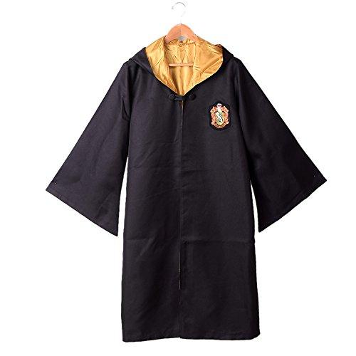 BLZ Magic School Cloak Adult Robe Black and Yellow XL (Harry Potter School Uniform)