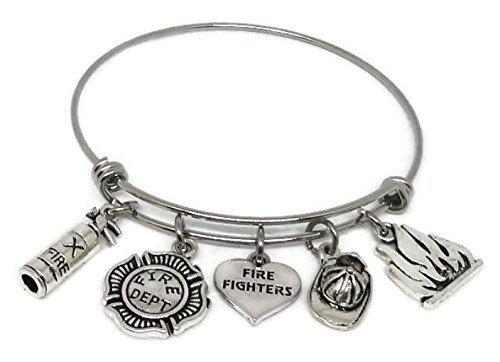 Fireman Stainless Steel charm Bracelet, Fire fighters Bangle, Fireman Mom Gift, Fireman Wife Bracelet