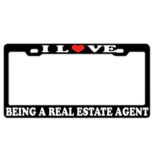HuiyaoEC Show Your Pride with Custom I Love Being A Real Estate Agent Frame for License Plate. Car Tag Plate Holder. 2 Holes & Screws