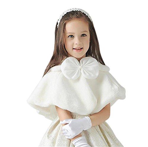 Fankeshi Ivory Flower Girl Faux Fur Shawl Wraps Cape Kids Wedding Communion S by Fankeshi