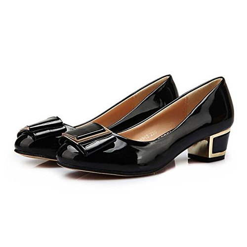 Womens Ladies Low Mid Heels Pumps Work Office Slip On Closed Toe Court Shoes For Evening Party Prom Black EHc3du