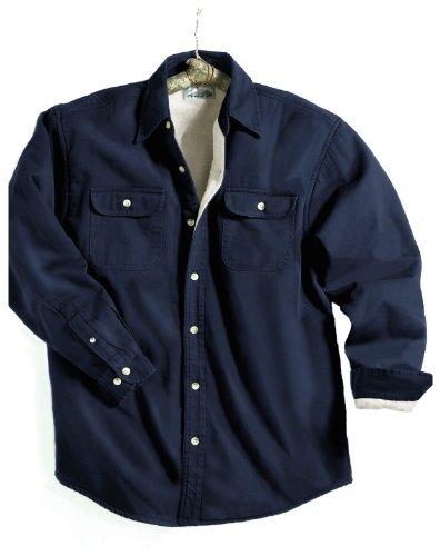 Tahoe Denim Shirt Jacket with Fleece Lining, Color: Navy/Khaki, Size: XX-Large