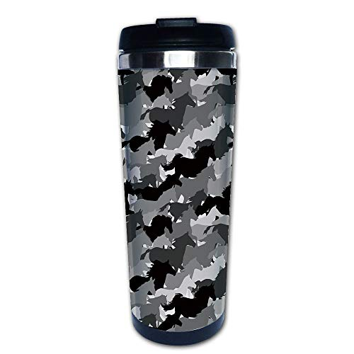 (Stainless Steel Insulated Coffee Travel Mug,Horses Monochrome Silhouettes Western Wildlife,Spill Proof Flip Lid Insulated Coffee cup Keeps Hot or Cold 13.6oz(400 ml) Customizable printing)