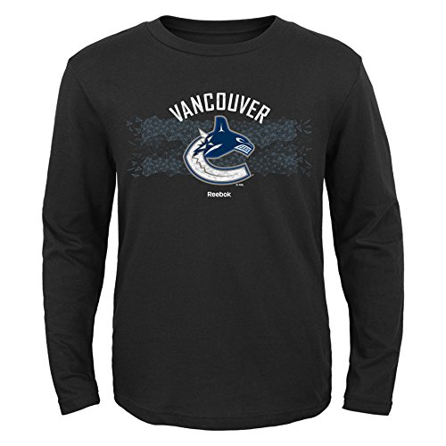 NHL Vancouver Canucks Boys Fractal Camo Long Sleeve Tee, Medium/(10-12), Black