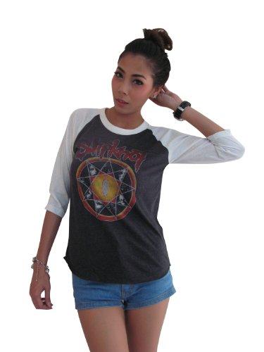 Bunny Brand Women's Slipknot Subliminal Verses Tour Raglan T-Shirt Gray (Medium)