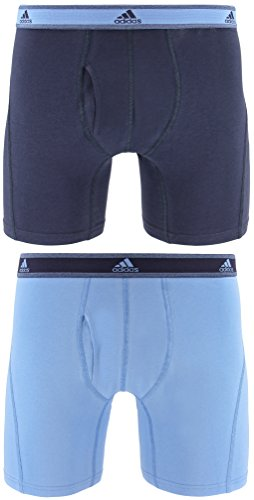 adidas Men's Relaxed Performance Stretch Cotton Boxer Briefs Underwear (2-Pack), Blue, Large