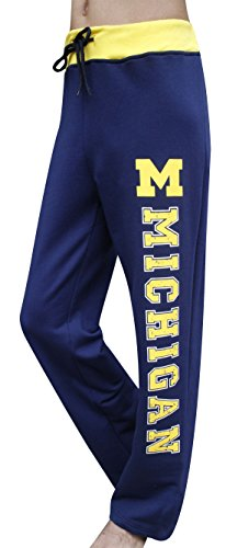 Corgeous Women's Michigan Wolverines Foils Vintage Pants Trousers - Navy & Yellow (Size: XL) (Michigan Wolverine Pants)