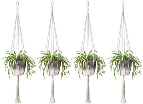 Mkono 4PCS Macrame Plant Hanger Indoor Outdoor Hanging Planter Basket Cotton Rope Home Decor 40 Inch