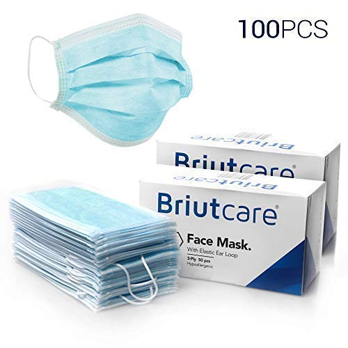 Briutcare Surgical Antiviral Masks (100 Pcs) | Premium Quality Medical Masks | 3 Ultra Thick Filter Layers Non-Woven Antiviral | Dental Masks, Mouth Masks, Ideal for Flu by BriutCare