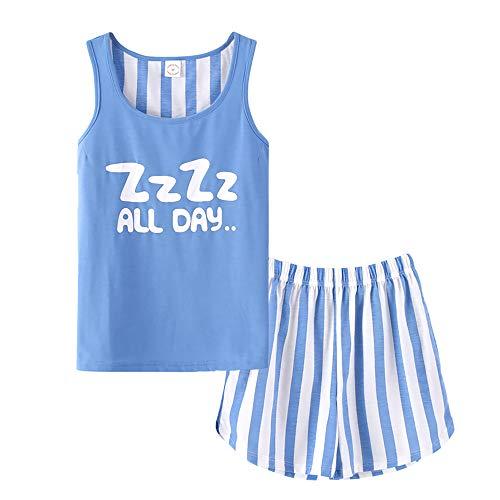 Beezizac Girls Tank Top and Shorts Cotton Pajama Set Teens Cute Sleepwear Big Kids Size 12 14 16 18 Blue ()