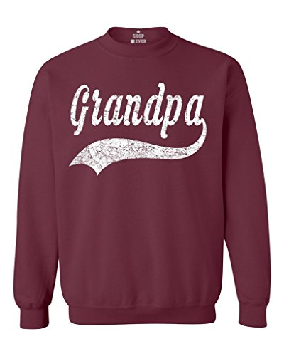 (Shop4Ever Grandpa Classic Baseball Crewnecks Sport Sweatshirts Large Maroon 0)