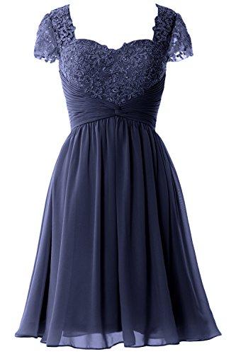 MACloth Women Cap Sleeve Cocktail Dress Short Lace Chiffon Mother of Bride Dress Azul Marino Oscuro