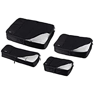AmazonBasics 4-Piece Packing Cube Set - Small, Medium, Large, and Slim, Black