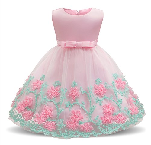 Baby Party Dresses - Dhiuow Wedding Party Dress for Toddler Baby Girls Flower Printed Tutu Dresses Pink Size 12-24M