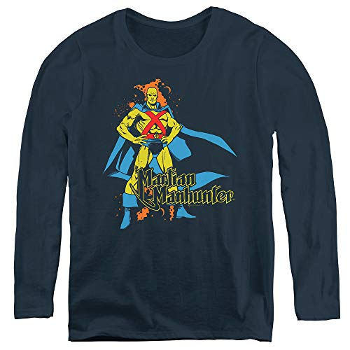 Dc Martian Manhunter Adult Long Sleeve T-Shirt for Women, X-Large Navy