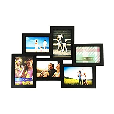 BestBuy Frames Stylish Black 6 Opening 3- 4x6 and 3-5x3.5 Wall Hanging Collage Picture Frame, Artistic 3D Puzzle Style, Perfect for Family, Friends, or Travel Photos