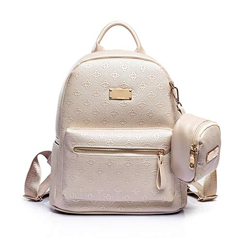 - DCRYWRX Women's Bag 2-Piece Set Simple Fashion Student Bag Embossed PU Leather Designer Handbags Purses Backpack,White